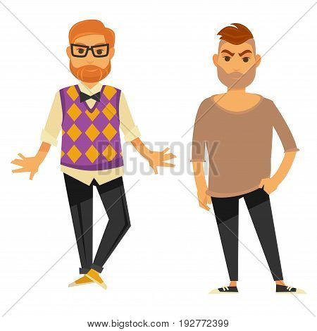 Two stylish young men in casual clothes isolated on white vector illustration in flat design. Male people demonstrating up-to-date fashion wearing shirt with knitted vest or loose light sweater