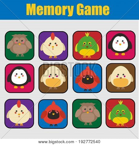 Educational children game, kids activity. Memory game, animals theme theme. Find pairs of same birds