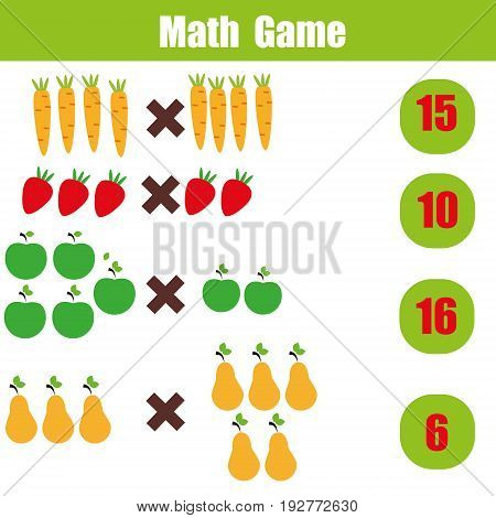 Mathematics educational game for children. Learning multiplication worksheet for kids, counting activity
