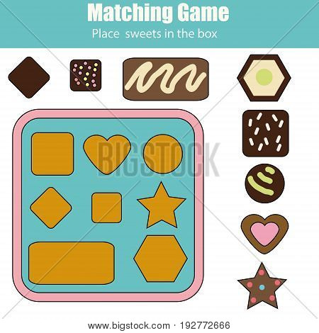 Educational children game. Matching game worksheet for kids. Learning shapes and size activity. Place chocolate sweets in box