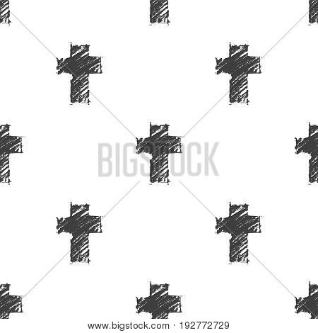 Vector seamless pattern with hand drawn dark gray crosses on a white background