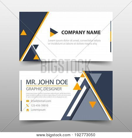 Black yellow triangle corporate business card name card template horizontal simple clean layout design template Business banner template for website