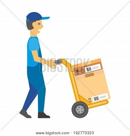 Man in blue overalls and cap pushes yellow metal cart with sealed cardboard box that has fragile, top of product signs and barcode label isolated flat vector illustration on white background.