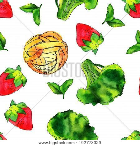 A seamless pattern of watercolour and ink vegan food themed drawings. Leaves of mint, strawberry, broccoli sprout, and pappardelle pasta nest, hand painted on white background