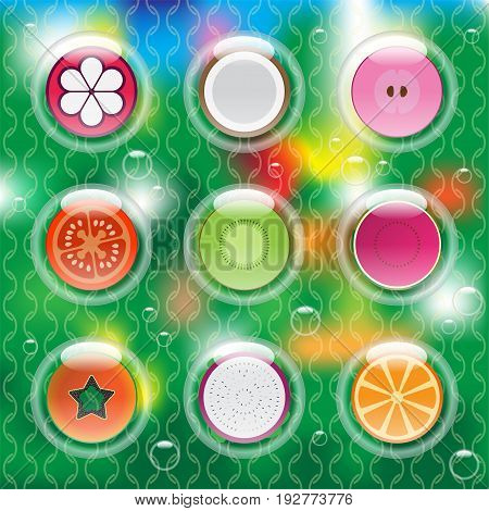 Mixed half sliced fruits in air bubbles flying in the air on colorful blurry background with pattern