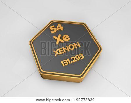 Xenon - Xe - chemical element periodic table hexagonal shape 3d render