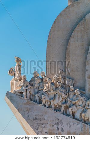 Padrao dos Descobrimentos (Monument to the Discoveries) in the bank of Tagus river Lisbon Portugal