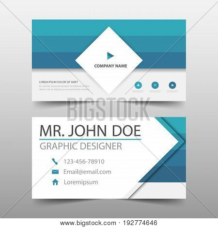 Blue square corporate business card name card template horizontal simple clean layout design template Business banner template for website