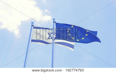 Israel and European Union, two flags waving against blue sky. 3d image