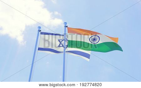 Israel and India, two flags waving against blue sky. 3d image