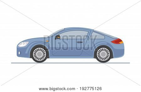 Blue sports car isolated on white background. Flat style, vector illustration.