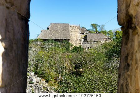 View of ancient Mayan ruins of Ek Balam near Valladolid Mexico