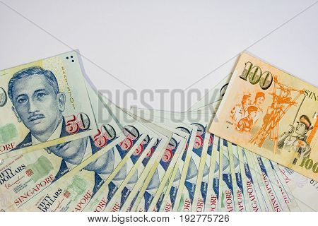 Singapore Dollar, Banknote Singapore On White Background Isolated