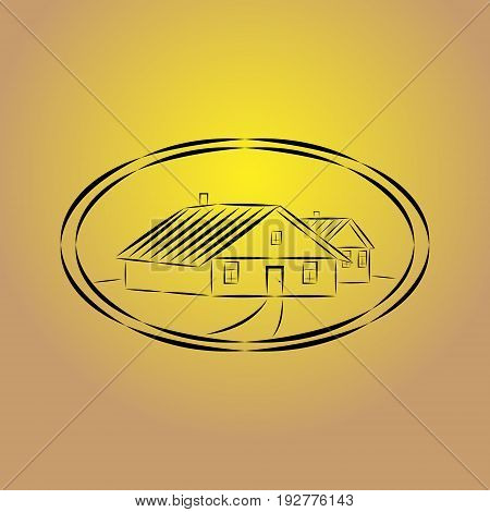 Vector illustration of a village house logo painted in black dashed lines with a path to the door in an oval with a double outline on a background of a yellow brown gradient.