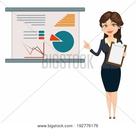 Businesswoman standing near board with infographic. Cute cartoon character. Vector illustration isolated on white background