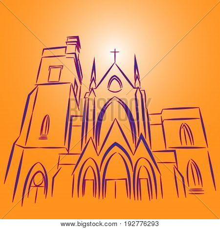 Vector illustration catholic temple with windows and a glowing cross painted with lilac dashed lines on a gradient background of yellow and orange