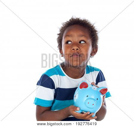 Beautiful afro-american child with a blue moneybox isolated on a white background