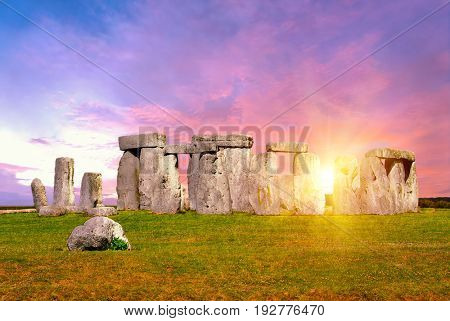 Historical monument Stonehenge not far from town of Amesbury, England