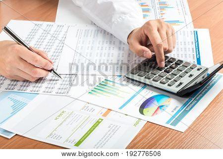 Business chart bar chart data analysis financial chart analysis businessman closeup