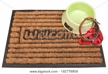 Door mat leash doormat dog bowl white background isolated on white