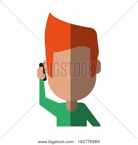 faceless man using smartphone icon image vector illustration design