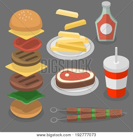Fast Food, burger and cola isolated  vectors