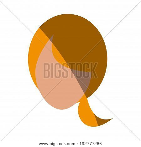 head of faceless woman with ponytail icon image vector illustration design