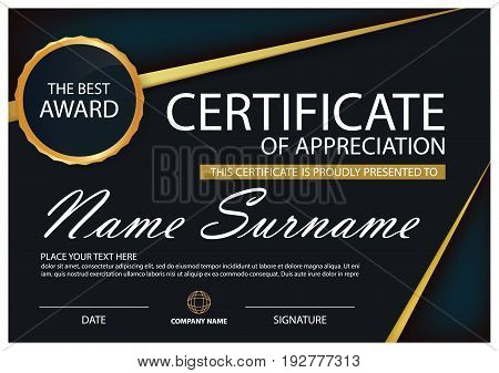 Black and gold Elegance horizontal certificate with Vector illustration white frame certificate template with clean and modern pattern presentation