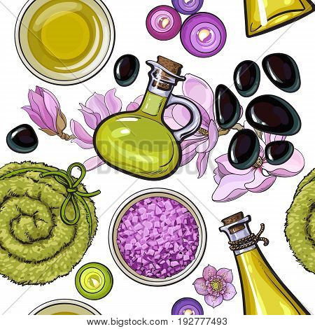 Seamless pattern of spa salon accessories - massage oil and stones, candles, towel roll, flowers, aromatic salt, sketch vector illustration on white background. Seamless pattern of spa accessories