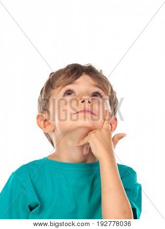 Pensive child looking up isolated on a white background