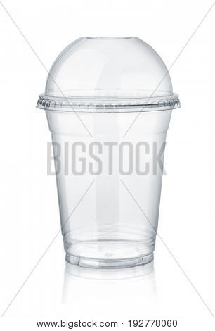 Plastic clear cup with dome lid isolated on white