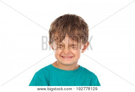 Funny child with eyes closed isolated on a white background