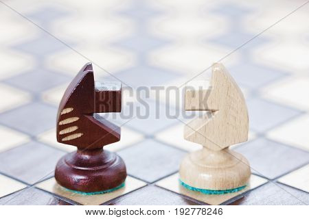 The business concept of fighting confrontation of ideas. Chessboard and the figures of the rivals' horses.