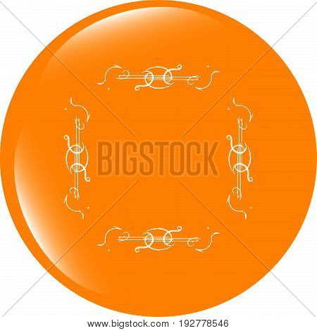Glossy Web Buttons With Abstract Lines . Flat Sign Isolated On White