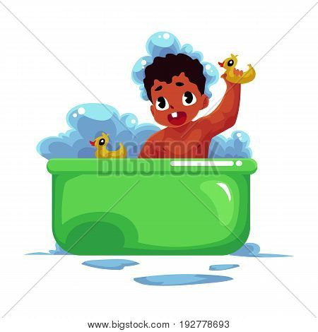 Cute little black, African American baby, infant, child taking bath with rubber ducks, cartoon vector illustration isolated on white background. Little black, African American baby taking foam bath