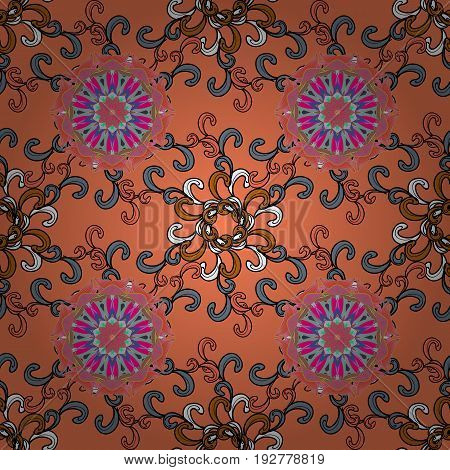 Can be used for brochures invitations persian motif. Islamic colored mandala round ornament on background. Vector architectural muslim texture design.