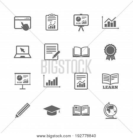 Set of Statistics, Education and Study icons. Presentation, Report and Book signs. Analytics, Pencil and Award medal symbols. Isolated flat icons set on white background. Vector