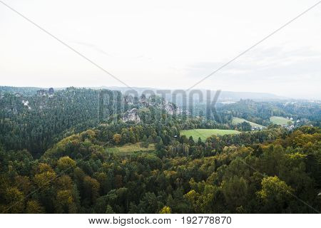 View from a high mountain to a dense wild boundless green forest with mountains and hills in a bright summer or autumn day