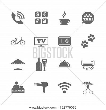 Set of Hotel services icons. Phone call, Wifi internet and Currency exchange signs. Coffee, Wine bottle and Air conditioning symbols. Isolated flat icons set on white background. Vector