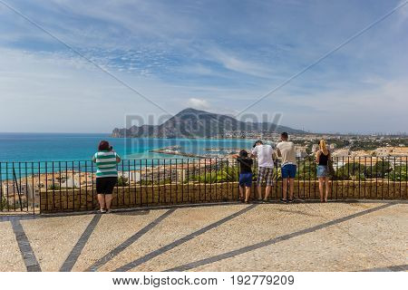 ALTEA, SPAIN - JUNE 09, 2017: Tourists enjoying the view over the Costa Blanca from the old town of Altea