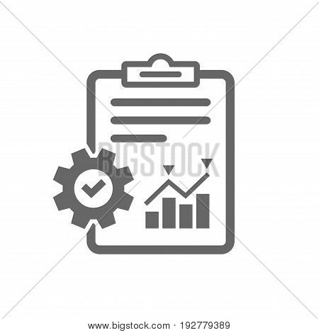 Project management icon. Report document with cogwheel symbol. File with charts symbol. Isolated flat icon on white background. Vector