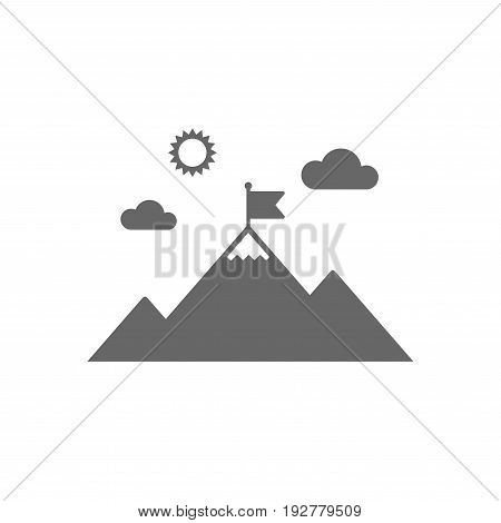 Flag on mountain icon. Leadership motivation sign. Mountaineering symbol. Isolated flat icon on white background. Vector