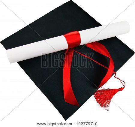 Degree graduation white background isolated on white copy space studio shot high school