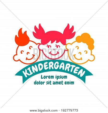 Kindergarten bright colorful logo concept. Flat design logotype. EPS 10 vector template. Isolated on white.