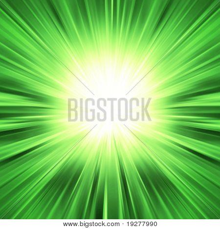 Green light burst - abstract background