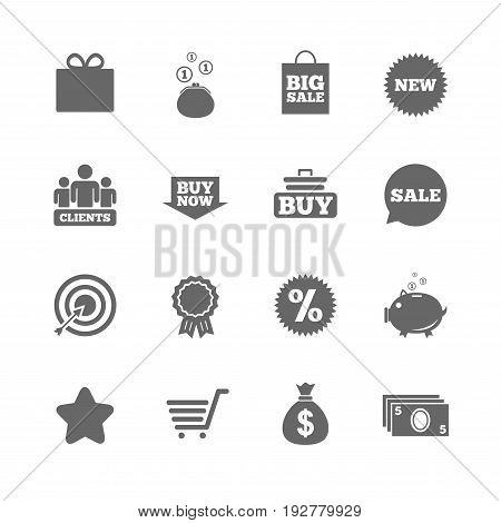 Set of Shopping, E-commerce and Business icons. Big sale, Gift box and Discounts signs. Clients, Sale and Shopping cart symbols. Isolated flat icons set on white background. Vector