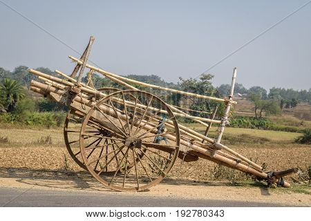 A bullock cart is standing on the road side.