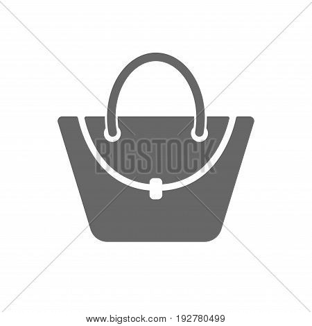Woman bag icon. Female handbag sign. Glamour casual baggage symbol. Isolated flat icon on white background. Vector