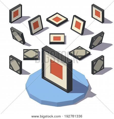 Vector isometric low poly Square Picture Frame. Vector low poly illustration.