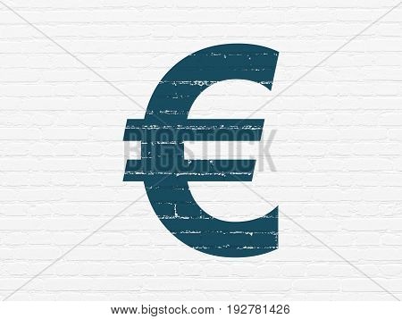 Currency concept: Painted blue Euro icon on White Brick wall background